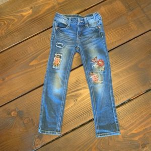 Girls Floral Patch Embroidered Skinny Jeans 6